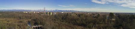 accommodating: Villa Borromeo, 01.14.2017, Senago, Italy. Aerial view of the Alps and Villa Borromeo. Ancient home of the XIV century surrounded by a park