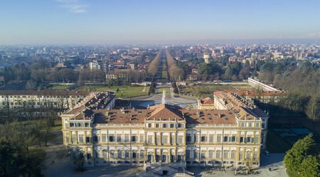 monza: Villa Reale, Monza, Italy. Aerial view of the Villa Reale 15012017. Royal gardens and park of Monza. Palace, neoclassical building Editorial