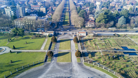 Garden Villa Reale, Monza, Italy. Aerial view of the Villa Reale 15012017. Royal gardens and park of Monza. Palace, neoclassical building