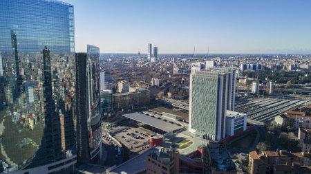 residences: Unicredit Tower and Garibaldi Station, Milan, Porta Nuova skyscraper residences, Italy, January 6, 2017.