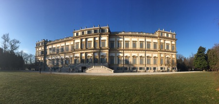 monza: Villa Reale, Monza, Italy. 15012017. Royal gardens and park of Monza. Palace, neoclassical building