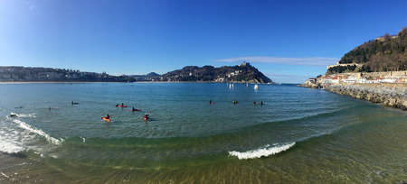 basque country: Donostia-San Sebastian, Basque Country, City, Spain. The beach of La Concha from the pier, panoramic view. 28012017