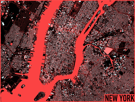 New York map, satellite view, the United States, illustration, houses, neighborhoods and colorful stree