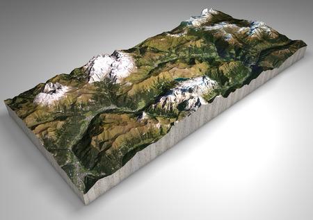 Section terrain, Canazei, Val di Fassa, Trentino Alto Adige, Italy. Mountains and hills, peaks of the Dolomites, Sassolungo, Marmolada, Sella Group. Alpine tourism.