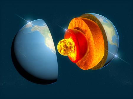 지구 구조, 층으로의 분열, 지구의 지각과 핵. 3 차원 렌더링