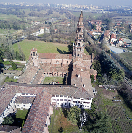 Panoramic view of Monastery of Clairvaux Abbey, aerial view, Milan, Lombardy Stock Photo