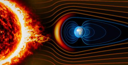El campo magnético de la Tierra, la Tierra, el viento solar, el flujo de partículas Foto de archivo