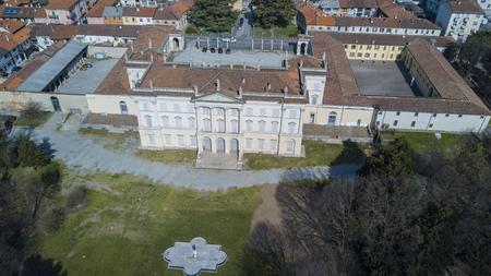 monza: Villa, Tittoni Cusani Traversi, panoramic view, aerial view, Desio, Monza and Brianza, Milan, Italy Stock Photo