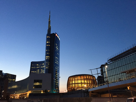Unicredit Tower and Pavilion Unicredit, Piazza Gae Aulenti, Milan, Italy. 03292017. View of Unicredit Tower, the tallest skyscraper in Italy.