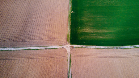 Nature and landscape, Aerial view of a field cultivation at countryside