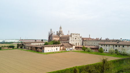 fourteenth: Aerial view of the Certosa di Pavia, built in the late fourteenth century, courts and the cloister of the monastery and shrine in the province of Pavia, Lombardia, Italy.