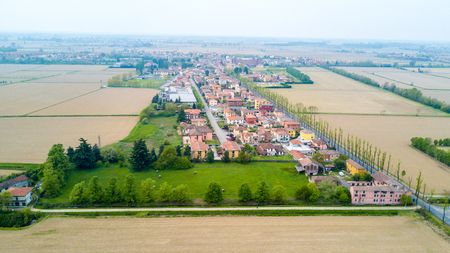 Certosa of Pavia, aerial view, village. Municipality of province. Roofs and fields in the province of Pavia. Pavia, Lombardy, Italy