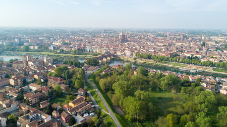 Aerial view of Pavia and the Ticino River, View of the Cathedral of Pavia, Covered Bridge and the Visconti Castle. Lombardia, Italy Stok Fotoğraf