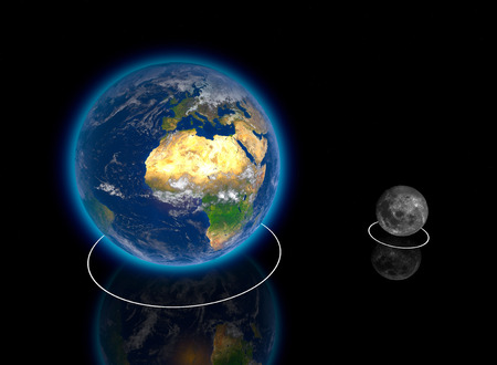 Planetary, Earth and Moon Proportions, ratio, diameter, magnitudes and dimensions, orbits. Elements of this image are provided by NASA. 3d rendering