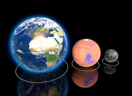 Planetary, Earth, Moon and Mars Proportions, ratio, diameter, magnitudes and dimensions, orbits. Elements of this image are provided by NASA. 3d rendering Stock Photo