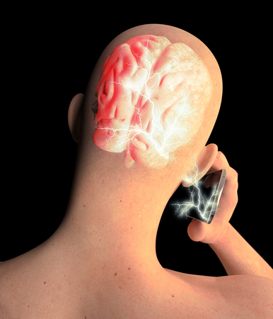 Brain, Man with Cell Phone, Brain Problems, Causes Of Tumor, Degenerative Diseases, Parkinsons, Profile Face. 3d rendering Stock Photo