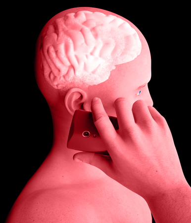 morbidity: Brain, Man with Cell Phone, Brain Problems, Causes Of Tumor, Degenerative Diseases, Parkinsons, Profile Face. 3d rendering Stock Photo