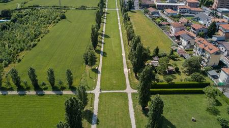 Garden and park, fountain, Villa Bagatti Valsecchi, villa, aerial view, eighteenth century, italian villa, Varedo, Monza Brianza, Lombardia Italy