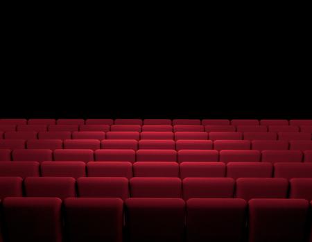 Cinema Room With Red Armchairs, Movie, Cinema, Screen, Movie Presentation.  3d