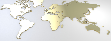 affluent: Map of the world, map plated of gold. 3d rendering