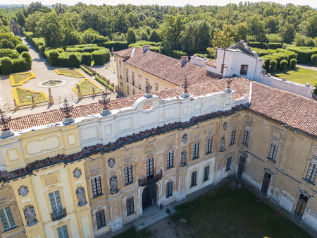 heritage protection: Details of the Arconati villa, statue windows and balconies. Villa Arconati, Castellazzo, Bollate, Milan, Italy. Aerial view of Villa Arconati 17062017. Gardens and park, Groane Park. Palace, baroque style palace, streets and trees seen from above