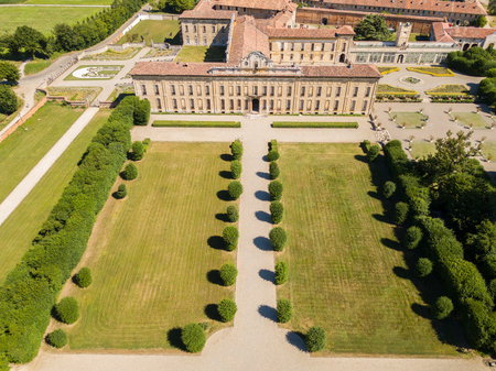 manifestations: Villa Arconati, Castellazzo, Bollate, Milan, Italy. Aerial view of Villa Arconati 17062017. Gardens and park, Groane Park. Palace, baroque style palace, streets and trees seen from above Editorial