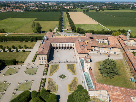 Villa Arconati, Castellazzo, Bollate, Milan, Italy. Aerial view of Villa Arconati 17062017. Gardens and park, Groane Park. Palace, baroque style palace, streets and trees seen from above Editorial