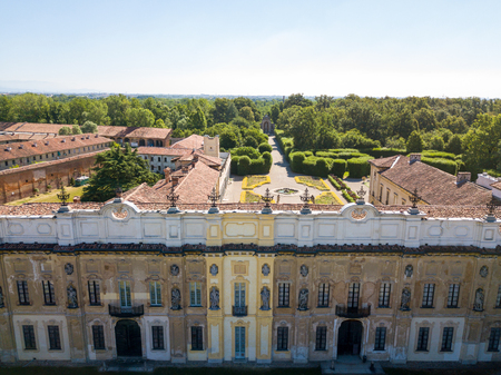 heritage protection: Villa Arconati, Castellazzo, Bollate, Milan, Italy. Aerial view of Villa Arconati 17062017. Gardens and park, Groane Park. Palace, baroque style palace, streets and trees seen from above Editorial