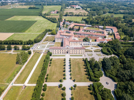 Villa Arconati, Castellazzo, Bollate, Milan, Italy. Aerial view of Villa Arconati 21062017. Gardens and park, Groane Park. Palace, baroque style palace, streets and trees seen from above
