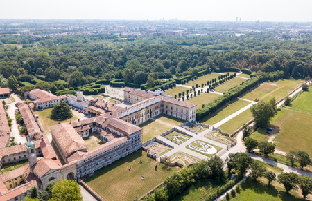 heritage protection: Villa Arconati, Castellazzo, Bollate, Milan, Italy. Aerial view of Villa Arconati 21062017. Gardens and park, Groane Park. Palace, baroque style palace, streets and trees seen from above