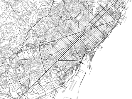 Map of Barcelona, ??cities, streets and streets, Spain