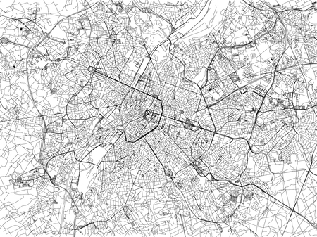 Map of Brussels, cities, streets, Belgium