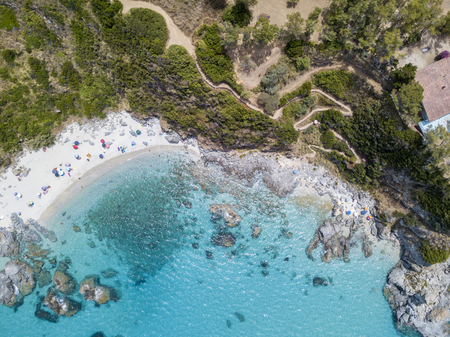 stone lion: Paradise of the sub, beach with promontory overlooking the sea. Zambrone, Calabria, Italy. Stock Photo