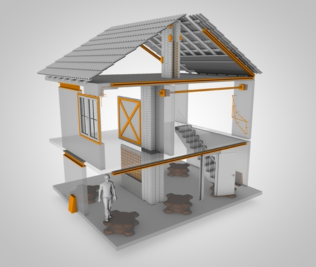 Anti-seismic house, heres how it is done. 3d rendering. All the ways to make an anti-seismic home