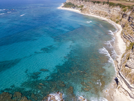Promontory, coast, cliff, cliff overlooking the sea, Ricadi, Cape Vaticano, Calabria. italy