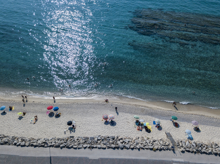 Sea bottom seen from above, Zambrone beach, Calabria, Italy. Diving relaxation and summer vacations. Italian coasts, beaches and rocks. Aerial view Stock Photo