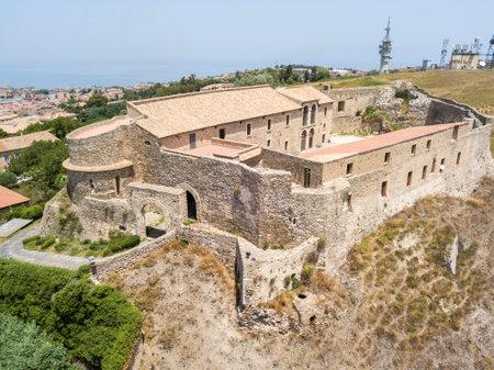 historical events: Aerial view of Norman Svevo Castle, Vibo Valentia, Calabria, Italy Editorial