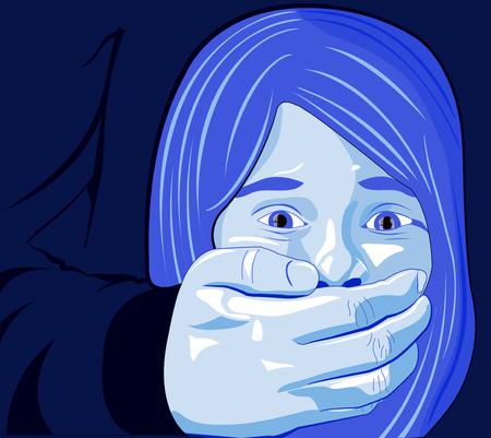 Petite fille abus, maltraitance, battement, fille, enfant, violence à l'égard des femmes Vecteurs