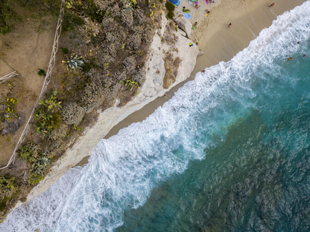 Aerial view of a promontory, coast, cliff, cliff overlooking the sea, Sant Irene, Briatico, Calabria. italy