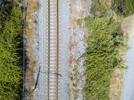 Aerial view train tracks