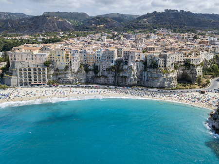 Aerial view of Tropea, house on rock, Calabria. Italy. Tourist destination of southern Italy, seaside resort located on a cliff in the gulf of SantEufemia Stock Photo