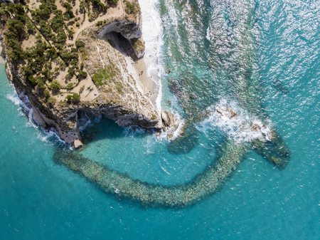 Aerial view of a promontory, coast, cliff, cliff overlooking the sea, Tropea, Calabria. italy Stock Photo