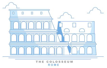 Stylized coliseum, Roman amphitheater, Rome, freehand design. Italy. Capital. Colosseum. Famous monument, seven wonders of the world Ilustração