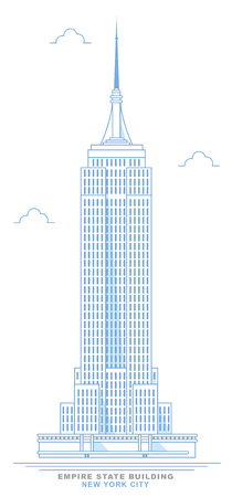 Empire State Building stylized, freehand design.