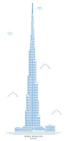 Stylized skyscraper, Burj Khalifa, freehand design. Dubais tallest skyscraper in the world. Dubai. United Arab Emirates Illustration