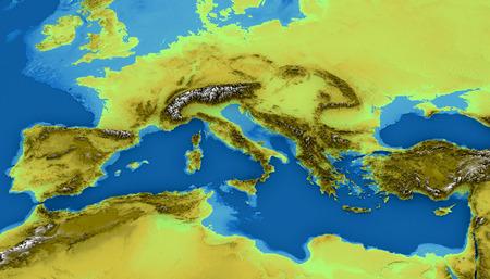 Kaart van de Middellandse Zee en Europa, kaart van hoogten, zeebodem, Afrika en het Midden-Oosten, 3d render. Fysieke kaart