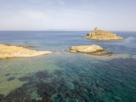 Aerial view of the islands of Finocchiarola, Mezzana, Earth, Peninsula of Cap Corse, Corsica. Tyrrhenian Sea, Uninhabited Islands that are part of the municipality of Rogliano. france