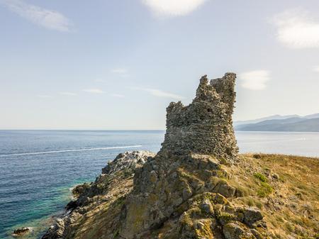 Aerial view of the islands of Finocchiarola, Mezzana, Earth, Peninsula of Cap Corse, Corsica. Tyrrhenian Sea, Uninhabited Islands that are part of the municipality of Rogliano. France.