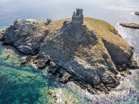 uninhabited: Aerial view of the islands of Finocchiarola, Mezzana, Earth, Peninsula of Cap Corse, Corsica. Tyrrhenian Sea, Uninhabited Islands that are part of the municipality of Rogliano. France.