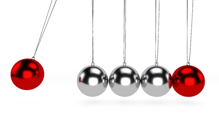 Newtons cradle, it is a device that demonstrates the conservation of momentum and energy by using a series of swinging spheres. The device is also known as Newtons Balls or Executive Ball Clicker Stock Photo